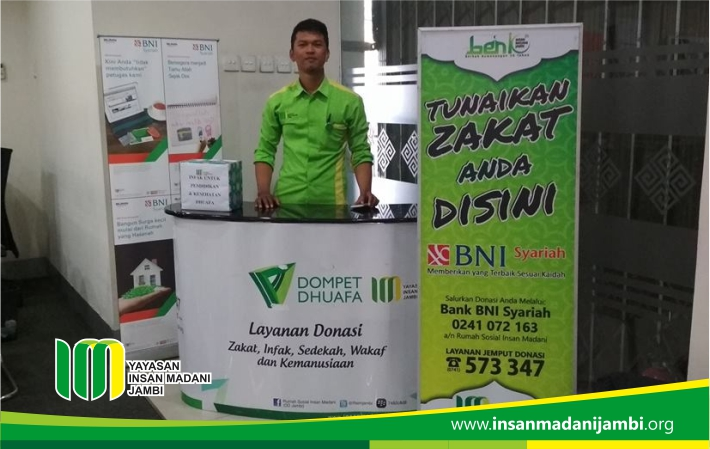 Insan Madani buka konter milad di bank bni syariah